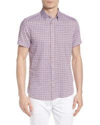 Ted Baker - Purple Modmo Slim Fit Printed Cotton Shirt for Men - Lyst