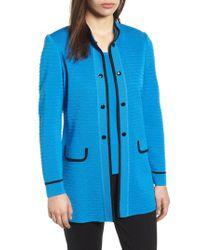 Ming Wang - Blue Textured Long Jacket - Lyst