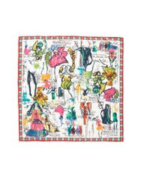 Christian Lacroix - White Croquis Silk Square Scarf - Lyst