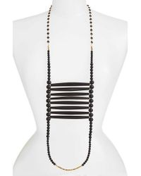 INK AND ALLOY - Ink + Alloy Into The Black Extra Long Beaded Necklace - Lyst