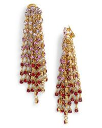 Oscar de la Renta | Metallic Crystal Cascade Waterfall Drop Earrings | Lyst
