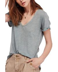 Free People - Green We The Free By Saturday Lace Trim Linen Blend Tee - Lyst
