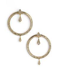 Luv Aj | Metallic Pave Frontal Hoop Earrings | Lyst