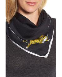 KENZO - Black Walking Tiger Bandana Cotton & Silk Scarf - Lyst