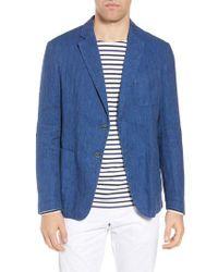 Bugatchi - Blue Regular Fit Herringbone Cotton & Linen Blazer for Men - Lyst