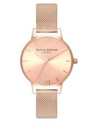 Olivia Burton - Pink Sunray Mesh Strap Watch - Lyst