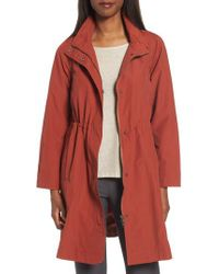 Eileen Fisher - Red Long Organic Cotton Blend Jacket - Lyst