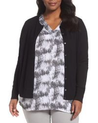Sejour - Black Button Front Cardigan - Lyst