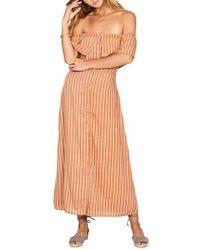 Amuse Society - Orange Roundabout Off The Shoulder Dress - Lyst