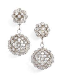 Nadri - Metallic Cubic Zirconia Double Drop Earrings - Lyst
