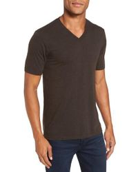Goodlife - Brown V-neck Heathered T-shirt for Men - Lyst