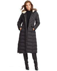 Lauren by Ralph Lauren | Black Faux Fur Trim Hooded Long Down & Feather Fill Coat | Lyst
