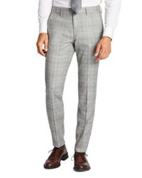 Bonobos - Gray Jetsetter Flat Front Plaid Stretch Wool Trousers for Men - Lyst