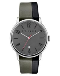 Ted Baker - Gray 'modern Vintage' Leather Strap Watch - Lyst