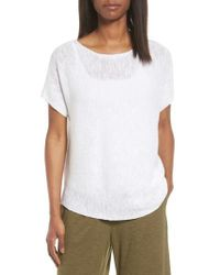 Eileen Fisher | White Organic Linen & Cotton Knit Top | Lyst