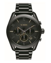 Nixon - Black 'bullet' Guilloche Chronograph Bracelet Watch - Lyst