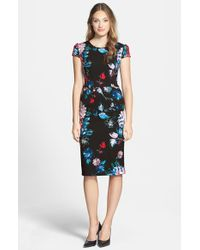 Betsey Johnson - Blue Print Stretch Midi Dress - Lyst