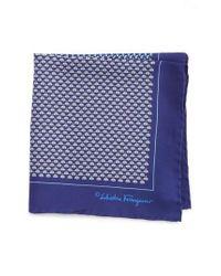 Ferragamo - Blue Salvatore Diana Silk Pocket Square for Men - Lyst