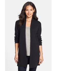 Eileen Fisher - Black Long Wool Crepe Jersey Cardigan - Lyst