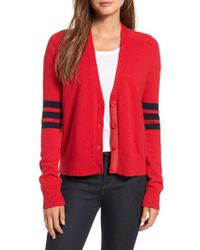 Nordstrom - Red 1901 Preppy V-neck Cardigan - Lyst