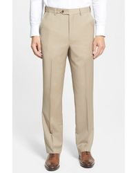 Berle | Natural Self Sizer Waist Flat Front Wool Trousers for Men | Lyst