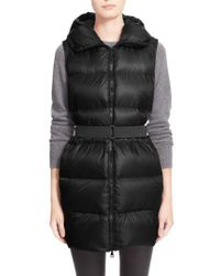 Moncler | Black 'glykeria' Water Resistant Hooded Down Puffer Vest | Lyst