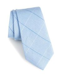 Calibrate - Blue Candler Grid Linen & Silk Tie for Men - Lyst