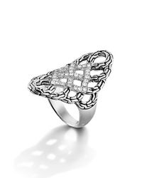 John Hardy - Metallic 'classic Chain' Diamond Saddle Ring - Lyst