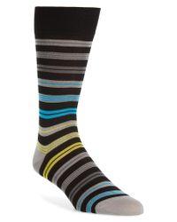 Bugatchi - Black Stripe Mercerized Cotton Blend Socks for Men - Lyst