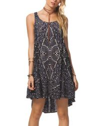 Rip Curl - Blue Sun Shadow Print Swing Dress - Lyst