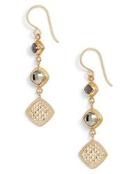 Anna Beck - Metallic Grey Sapphire & Pyrite Triple Drop Earrings - Lyst