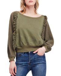Free People - Green Faff Fringe Sweater - Lyst