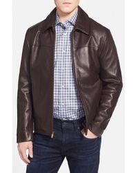 Cole Haan | Brown Lambskin Leather Jacket for Men | Lyst