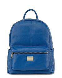 Montezemolo - Blue Leather Backpack for Men - Lyst