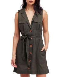 Free People - Black Hepburn Safari Shirtdress - Lyst