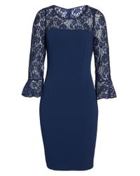 Adrianna Papell - Blue Lace & Crepe Dress - Lyst