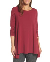 Eileen Fisher | Red Scoop Neck Tunic | Lyst