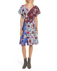 Diane von Furstenberg - Blue Draped Faux Wrap Silk Dress - Lyst