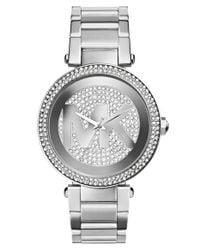 MICHAEL Michael Kors | Metallic Michael Kors 'parker' Pave Logo Dial Bracelet Watch | Lyst