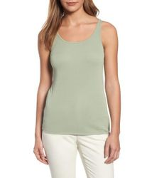 Eileen Fisher | Green Long Scoop Neck Camisole | Lyst