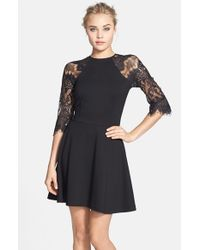 BB Dakota | Black 'yale' Lace Panel Fit & Flare Dress | Lyst
