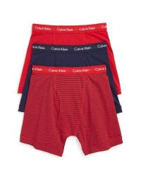 Calvin Klein - Blue 3-pack Boxer Briefs, Red for Men - Lyst