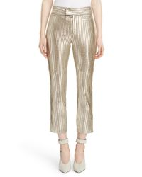 Isabel Marant - Straight-leg Striped Metallic Leather Cropped Pants - Lyst