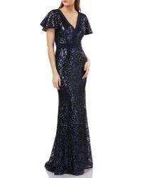 Carmen Marc Valvo - Multicolor Sequin Gown - Lyst