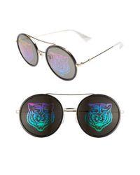 3ff7edf2a25 Lyst - Gucci Web Block Hologram 56mm Round Sunglasses - in Metallic ...