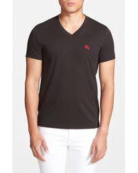Burberry Brit | Black 'lindon' V-neck Cotton T-shirt for Men | Lyst