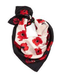 Kate Spade | Red Falling Poppy Silk Scarf | Lyst