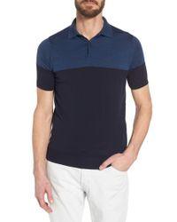 John Smedley - Gray Colorblock Merino Wool Polo for Men - Lyst
