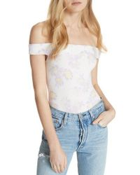 Free People White So Much Off The Shoulder Bodysuit