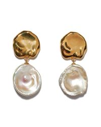 Lizzie Fortunato - Metallic Coin Reflection Freshwater Pearl Earrings - Lyst